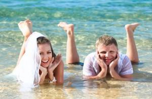 Maui wedding couple water