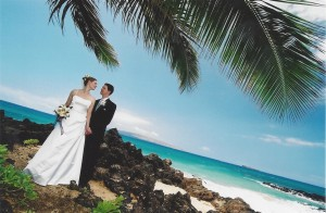 Christine Vestfals & Larry Lutz wedding at Secret Beach, Maui 5-03-1